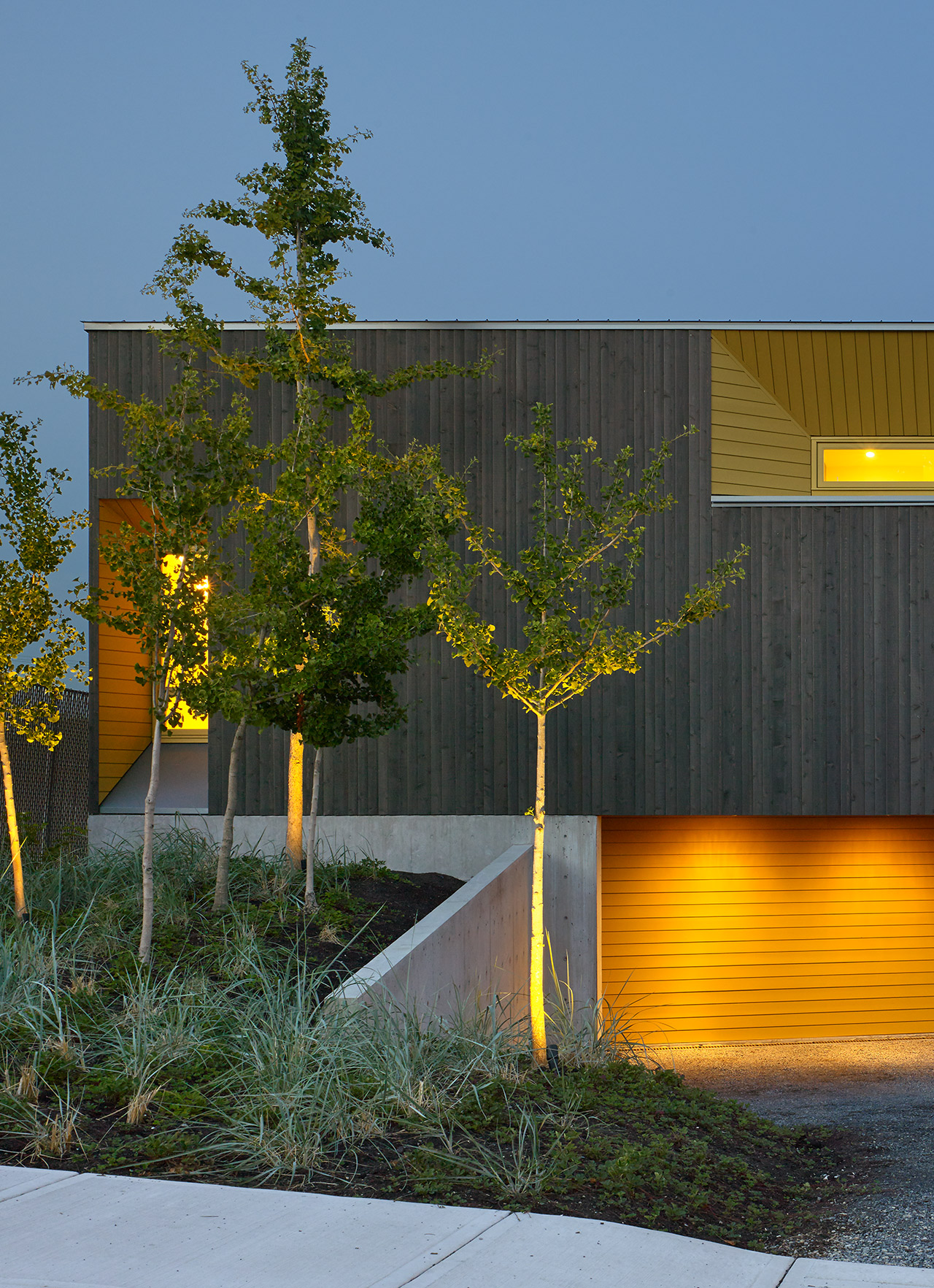 Front exterior view of modern home and landscaped garden.