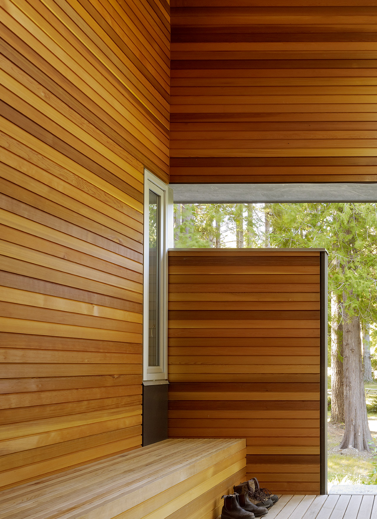 Wood panelled outdoor deck space